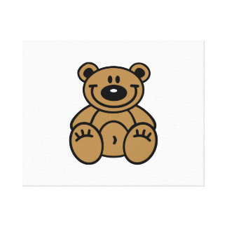 Smiling teddy bear stretched canvas prints