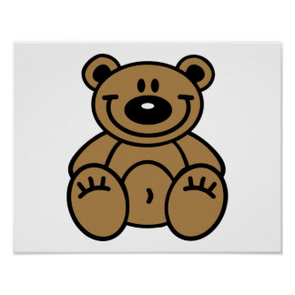 Smiling teddy bear poster