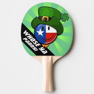 Smiling Texas Flag with a Leprechaun Hat Ping Pong Paddle