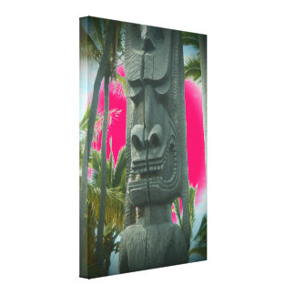 Smiling tiki statue tropical pink canvas print