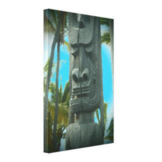 Smiling tiki tropical teal statue canvas print