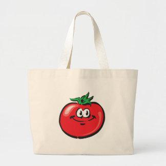 smiling tomato face jumbo tote bag