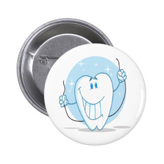 Smiling Tooth Cartoon Character Always Floss 6 Cm Round Badge