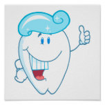 Smiling Tooth Cartoon Character With Toothpaste On Poster