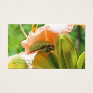 Smiling Tree Frog Pink Lily Business Card