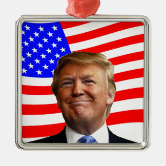 Smiling Trump Metal Ornament