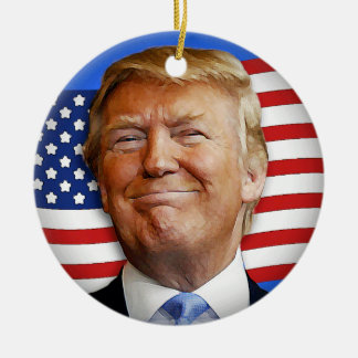 Smiling Trump Round Ceramic Decoration