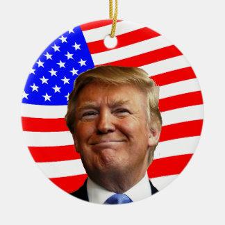 Smiling Trump Round Ceramic Decoration