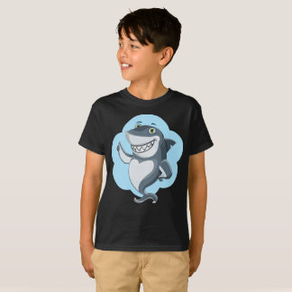 Smiling Upstanding Blue Shark Outline Kids T-Shirt
