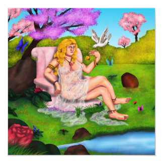 Smiling Venus and flying white dove in Garden Eden Card