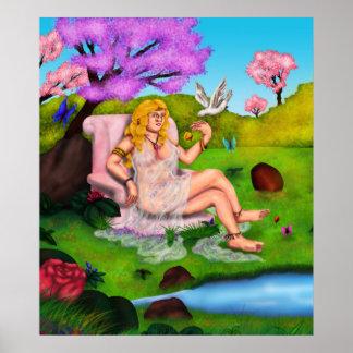 Smiling Venus and flying white dove in Garden Eden Poster