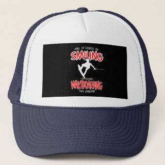 SMILING WAKEBOARDING Weekend 1 WHITE Trucker Hat