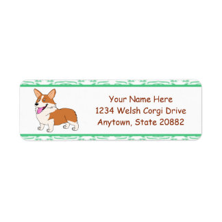Smiling Welsh Corgi Cartoon Return Address Label