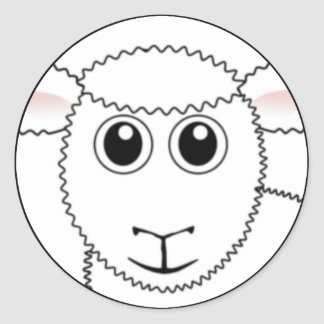Smiling White Sheep Face Classic Round Sticker