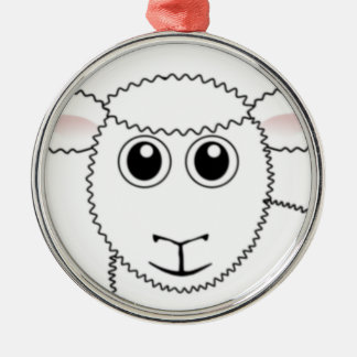 Smiling White Sheep Face Silver-Colored Round Decoration