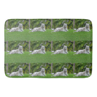 Smiling White Tiger and Palm Trees Bath Mat