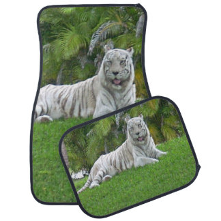 Smiling White Tiger and Palm Trees Car Mat
