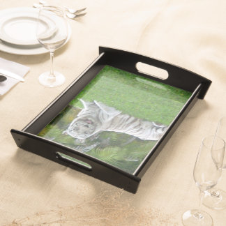 Smiling White Tiger and Palm Trees Serving Tray