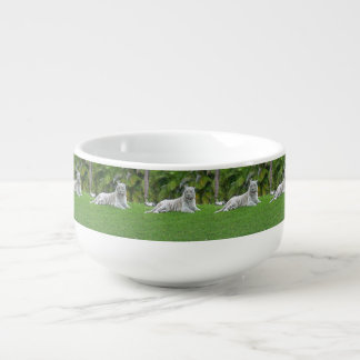 Smiling White Tiger and Palm Trees Soup Mug