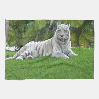 Smiling White Tiger and Palm Trees Tea Towel