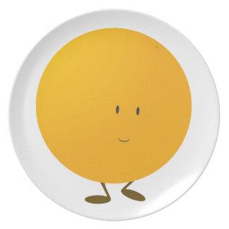 Smiling whole orange character plates