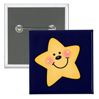 Smiling Yellow Star Tshirts and Gifts Pinback Buttons