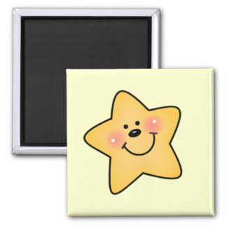 Smiling Yellow Star Tshirts and Gifts Square Magnet