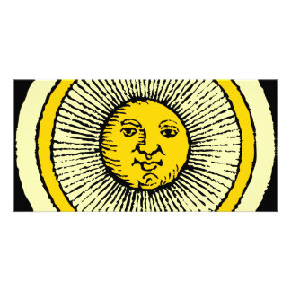 smiling yellow sun with line rays photo card