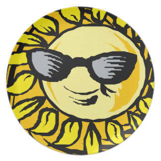 Smiling Yellow Sun With Shades Plate