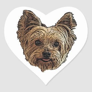 Smiling Yorkie Heart Sticker
