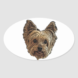 Smiling Yorkie Oval Sticker
