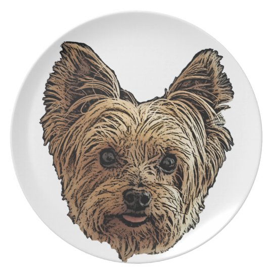Smiling Yorkie Plate