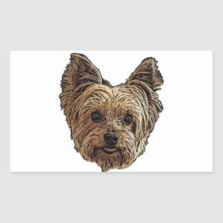 Smiling Yorkie Rectangular Sticker