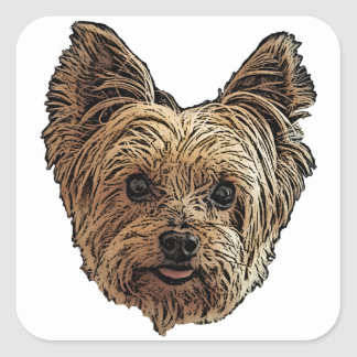 Smiling Yorkie Square Sticker