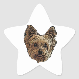 Smiling Yorkie Star Sticker