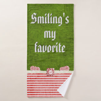 """Smiling's my favorite"" Christmas Elf Quote Bath Towel Set"