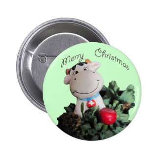 Smilling cow Merry Christmas Button