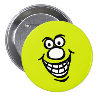Smily Face *3 Inch Round Button (green yellow)