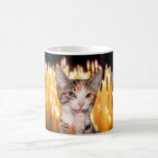 Smirking cat oldster birthday coffee mug