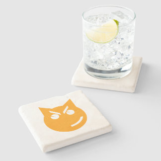 Smirking Emoji Cat Stone Beverage Coaster