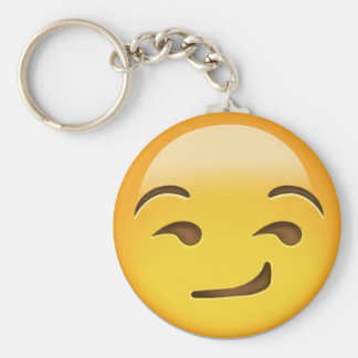 Smirking Face Emoji Basic Round Button Key Ring