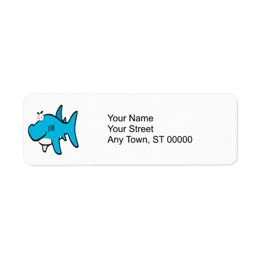 smirking shark cartoon return address label