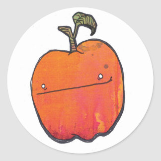 smirky apple classic round sticker