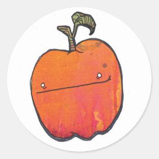 smirky apple round sticker