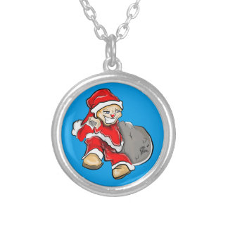 Smirky Smile Santa on the Run Holding Toy Sack Silver Plated Necklace