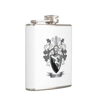Smith Family Crest Coat of Arms Hip Flask