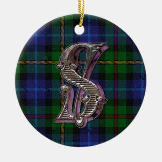 Smith Plaid Monogram ornament