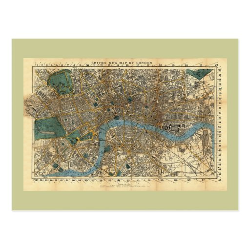 Smith's new map of London 1860 Post Card