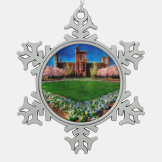 Smithsonian Castle Garden Cherry Blossoms Snowflake Pewter Christmas Ornament