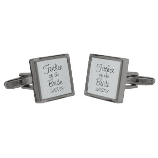 Smoke Father of the Bride Gunmetal Finish Cufflinks
